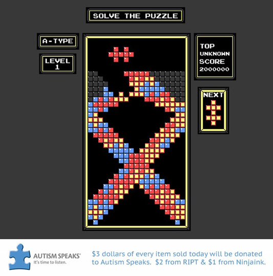 Tetris Solve the Puzzle Shirt (Autism Awareness)