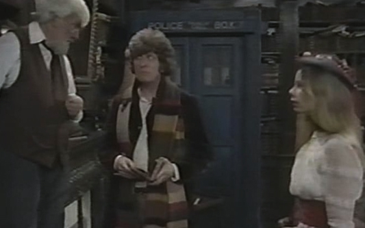 The Doctor and Romana meet Professor Chronitis in a shot from the unreleased Shada