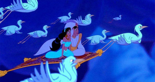 Aladdin and Jasmine soar above the clouds on Magic Carpet