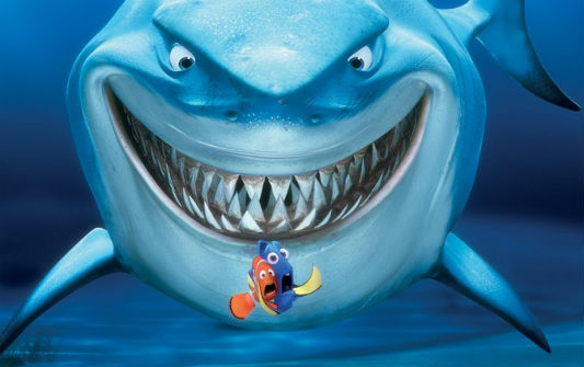 At first Marlin and Dory fear Bruce, a Great White Shark