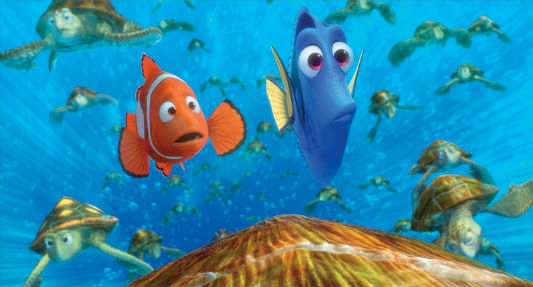 Marlin and Dory ride along the East Australian Current with their new turtle friends