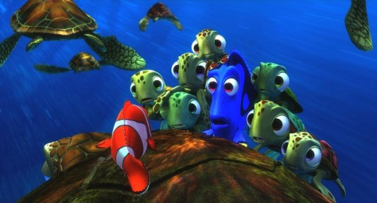 Dory, Squirt and the turtles listen to Marlin's epic journey