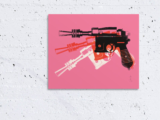 Blaster Model Pink on wall