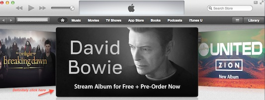 David Bowie iTunes streaming banner