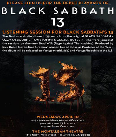 Black Sabbath's 13 Press Listening Party In Hollywood