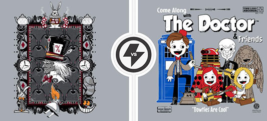 TwoFury Shirts: Alice In Wonderland vs. Doctor Who