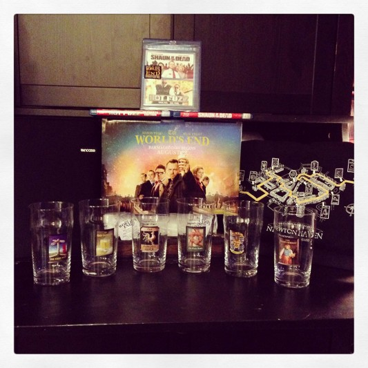 The World's End Pub Glasses, Golden Mile T-Shirt, Hot Fuzz, Shaun of the Dead blu-ray