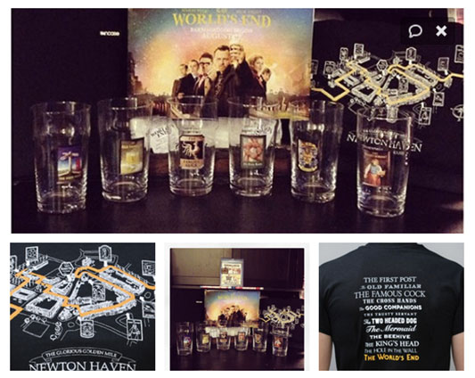 The World's End' Pub Glasses & Golden Mile T-Shirt