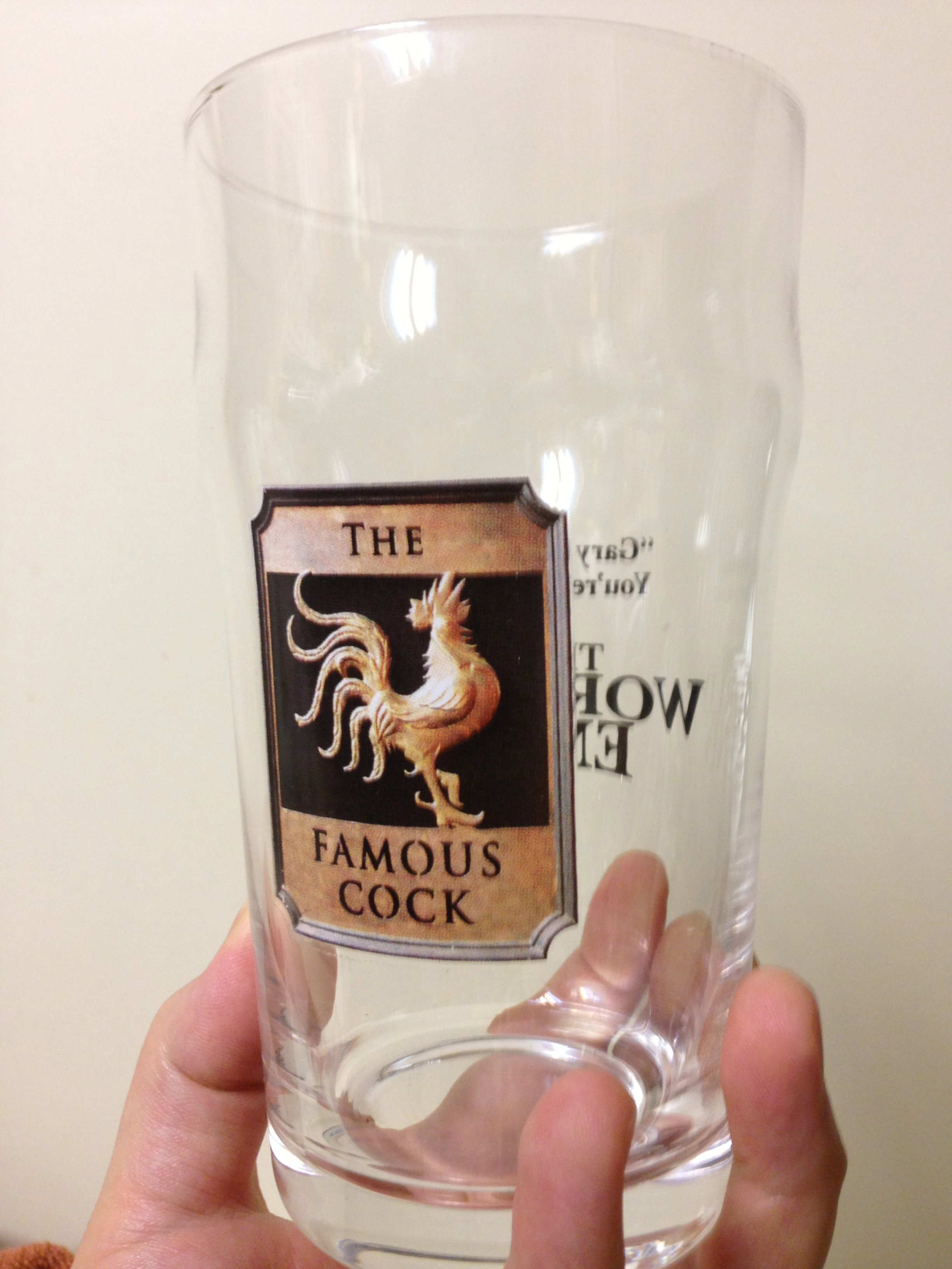 Pint glass cock
