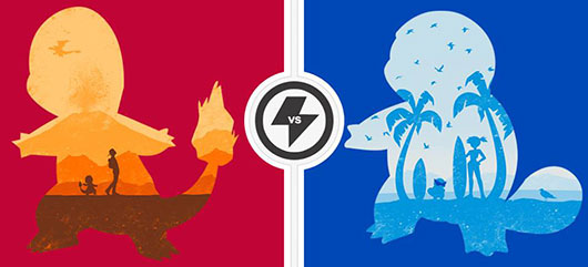 TwoFury Shirts Pokemon Red Companion vs. Blue Companion