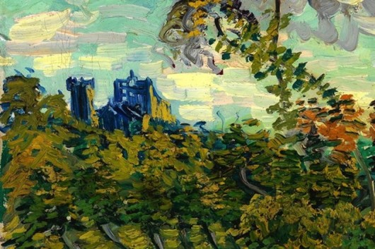 Vincent van Gogh: Sunset at Montmajour zoom in on blue abbey or Doctor Who TARDIS?