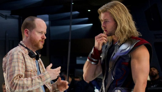 Joss Whedon and Chris Hemsworth On The Set Of The Avengers