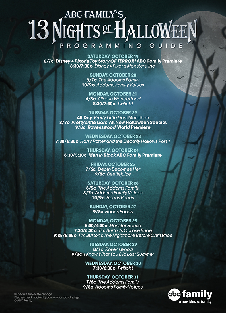 ABC Family's 13 Nights Of Halloween 2013 schedule
