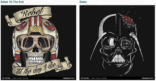 Star Wars Zombie Vader & Rebel Skull Shirts