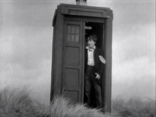 Patrick Troughton exiting the TARDIS from Classic Doctor Who somewhere between 1966 and 1969.
