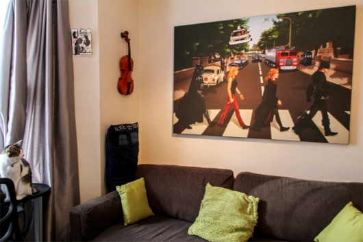 Geeky Road commissioned art by Aviv Or hanging on wall