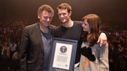 Doctor Who The Day of the Doctor Guinness World Record award Steven Moffat, Matt Smith, Jenna Coleman