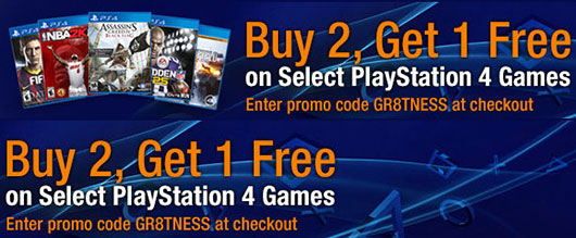 Buy 2 Get 1 FREE On Select PlayStation 4 Games