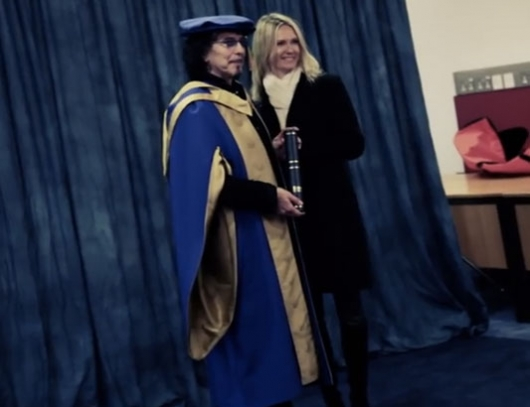 Tony Iommi and his wife Maria Sjoholm at Honorary Doctorate ceremony at Coventry University November 2013