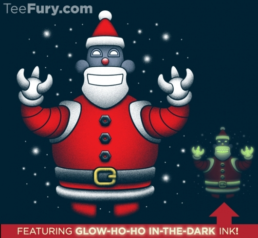 Futurama Robot Santa Glow In The Dark Naughty or Nice Shirt