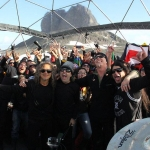 Metallica Antarctica Concert the band poses with the crowd