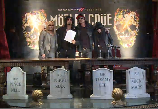 Motley Crue retirement with legal document