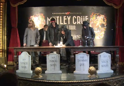 Motley Crue retirement signing document