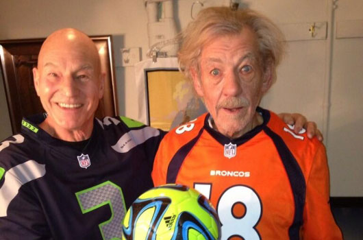 Patrick Stewart and Sir Ian McKellen Super Bowl jerseys 2014 banner
