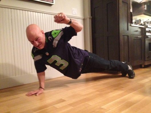 Patrick Stewart Super Bowl Seattle Seahawks victory push-up
