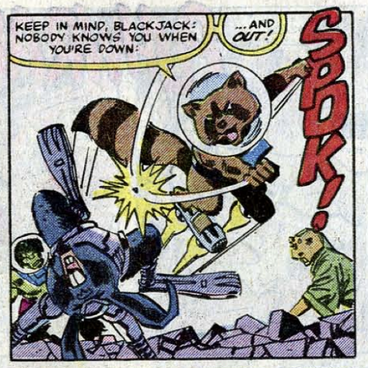 "Rocket Raccoon from ""Incredible Hulk"" #271, written by Bill Mantlo, pencils by Sal Buscema"