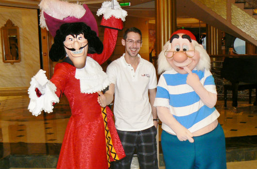disney cruise line brett nachman with captain hook and mr smee