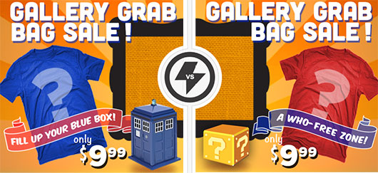 $9.99 Grab Bag T-Shirt Sale With Doctor Who Option