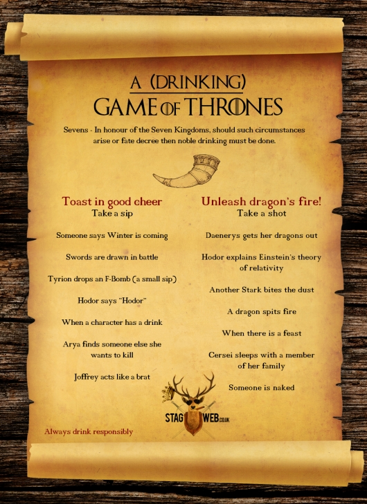 Game Of Thrones Drinking Game by Stag Web