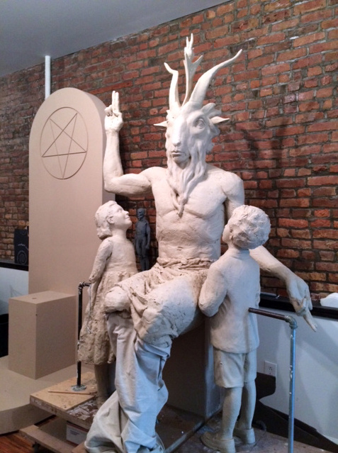 The Satanic Temple Satan Monument for Oklahoma Capitol in progress. Photo by Jonathan Smith for Vice