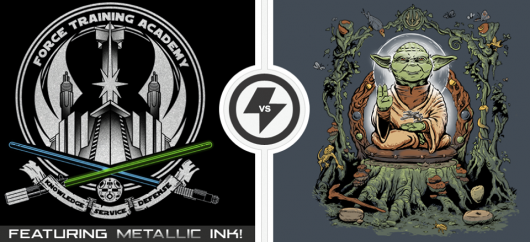 Star Wars Master the Force vs Yodhisattva shirts