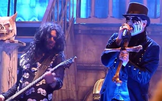 King Diamond (right) and bassist Hal Patino (left) performing on stage