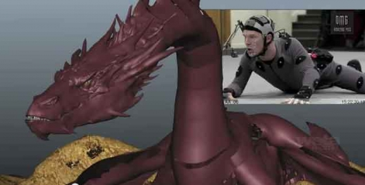 The Hobbit Benedict Cumberbatch Smaug motion-capture split screen