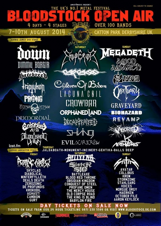 Bloodstock Open Air 2014 band listings