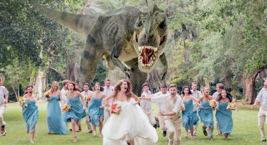 Dinosaur Chase wedding photo