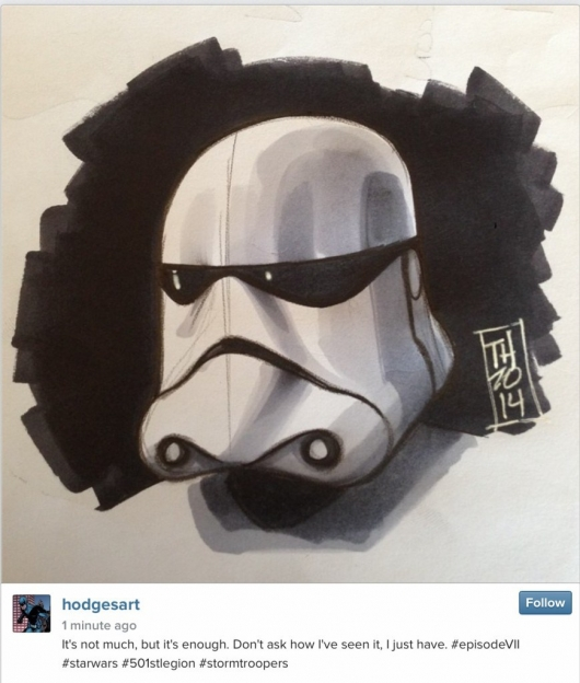 Star Wars Episode VII stormtrooper sketch by Tom Hodges