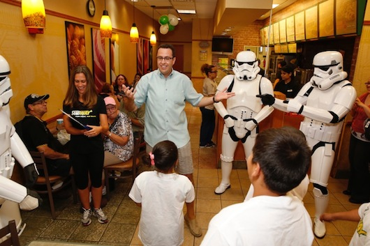 Subway Star Wars Jared Stormtroopers Talk to Kids