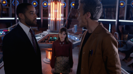 The Doctor, Danny Pink, and Clara in the TARDIS control room in The Caretaker