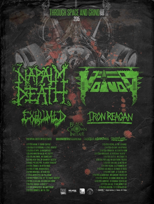Voivod and Napalm Death North American Tour 2015 Through Space and Grind