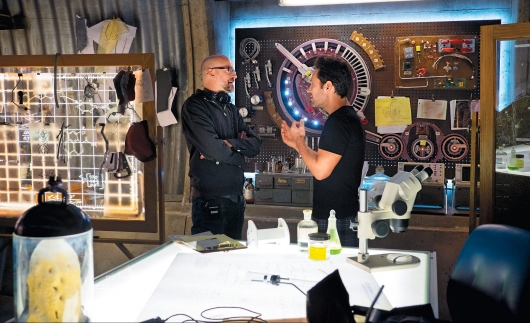 Director Peyton Reed and star Paul Rudd on the set of Marvel Studios' Ant-Man