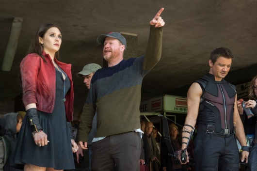 Joss Whedon With Elizabeth Olsen and Jeremy Renner On The Set Of Avengers: Age Of Ultron
