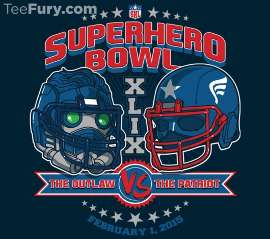 Star-Lord vs Captain America Super Bowl Charity T-Shirt Teefury
