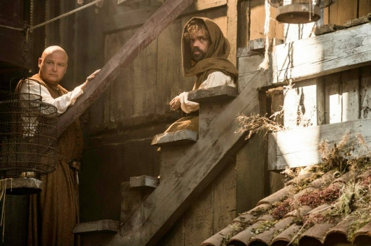Game Of Thrones Season 5 Conleth Hill as Varys and Peter Dinklage as Tyrion Lannister