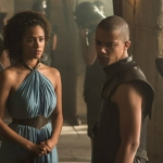 Game Of Thrones Season 5 Nathalie Emmanuel as Missandei and Jacob Anderson as Grey Worm