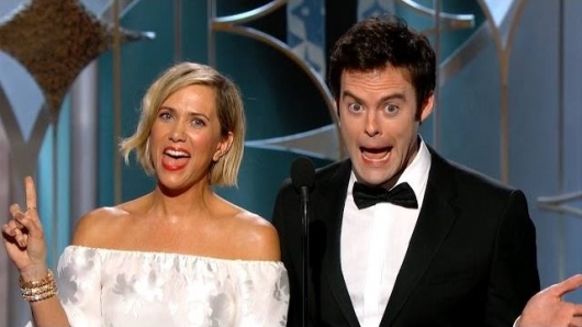 Golden Globes 2015 Kristen Wiig and Bill Hader