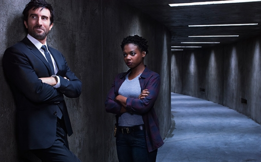 Powers TV series Sharlto Copley as Christian Walker and Susan Heyward as Deena Pilgrim